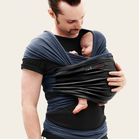 Je Porte Mon Bebe Original Wrap Carrier - Midnight Blue/Black-Baby Carriers- Natural Baby Shower