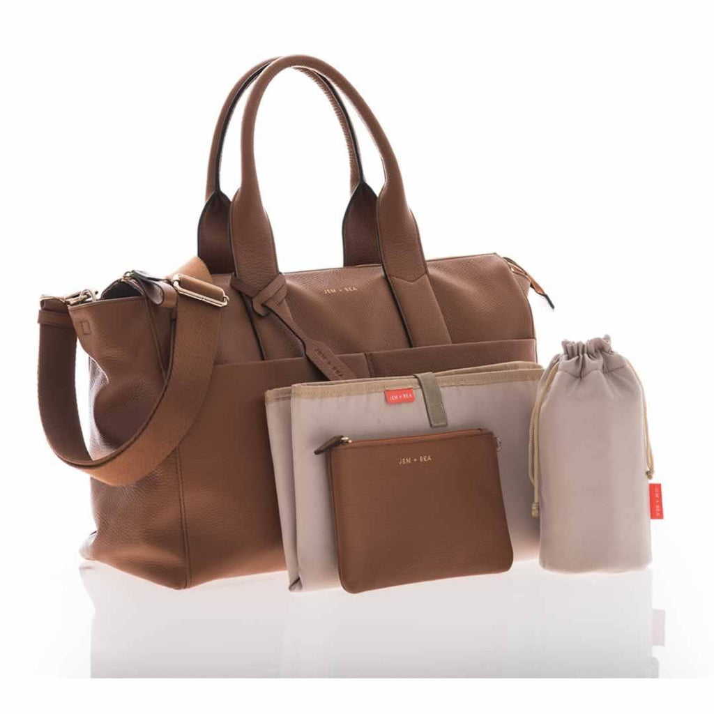 JEM + BEA Jemima Changing Bag - Tan-Changing Bags- Natural Baby Shower