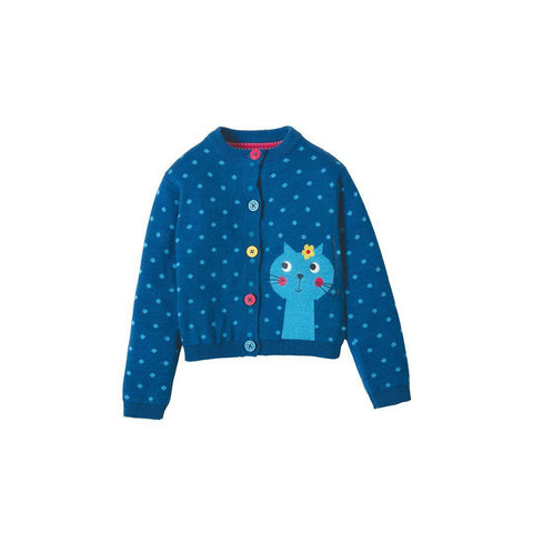 Frugi Little Betsy Cardigan - Ink Spot/Cat