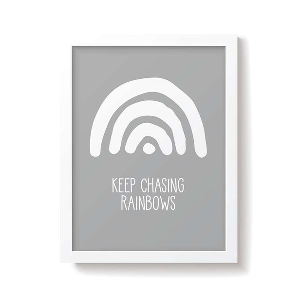 Snuz Keep Chasing Rainbows Nursery Print - Grey-Artwork & Stickers- Natural Baby Shower