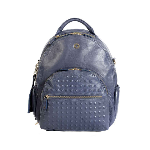 KeriKit Joy XL Leather Backpack - Blue Steel