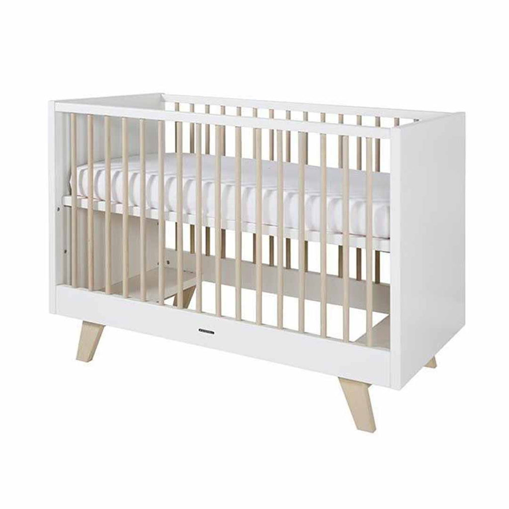 Kidsmill Fynn Cot Bed - 60 x 120 - White & Natural-Cot Beds- Natural Baby Shower