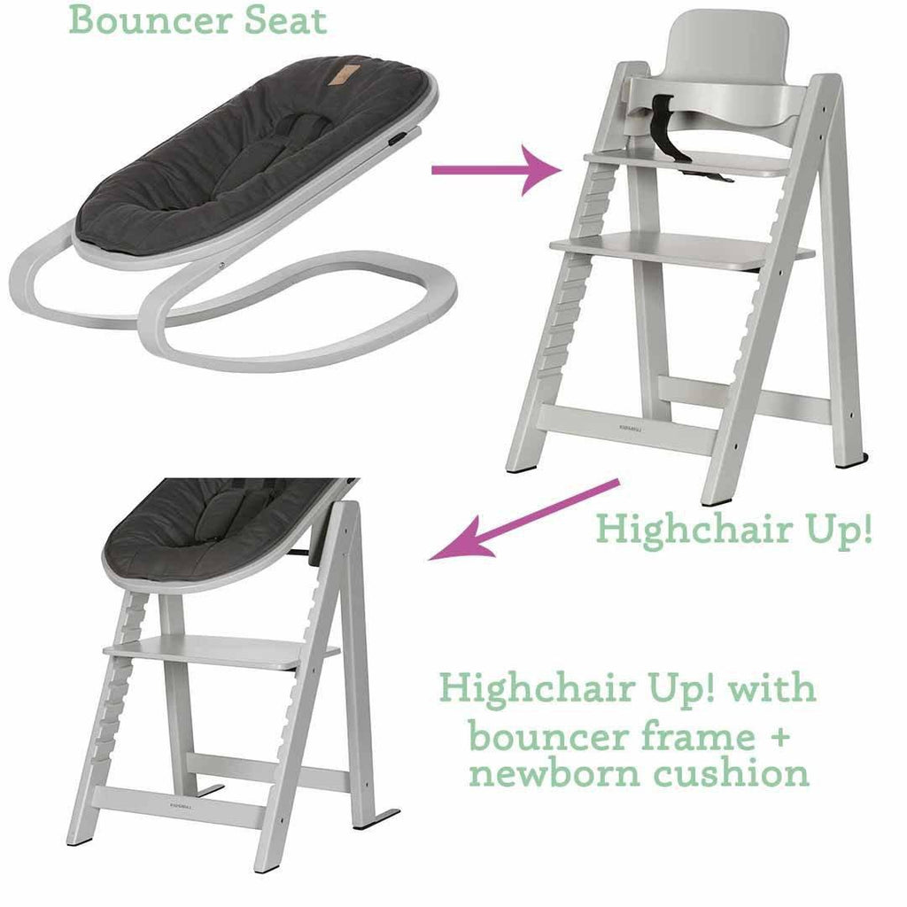 Kidsmill Highchair Up! + Bouncer - Solid Grey-High Chairs- Natural Baby Shower