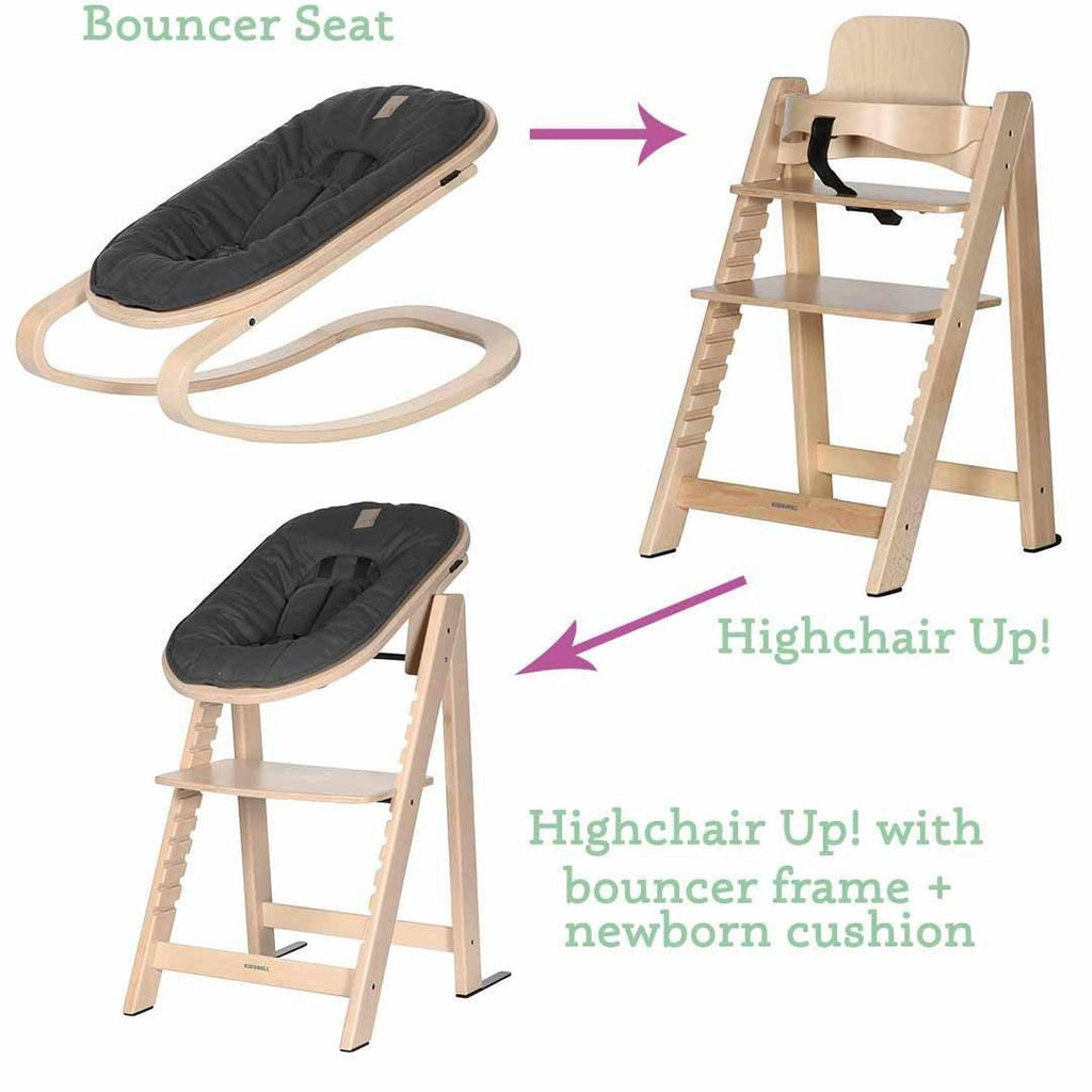 Kidsmill Highchair Up! + Bouncer Bundle - Natural