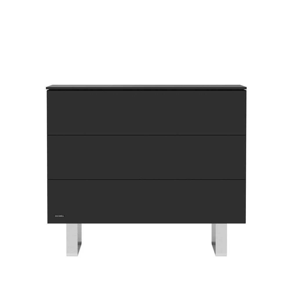 Kidsmill Intense 3 Drawer Chest - Black & Stainless Steel-Dressers & Chests- Natural Baby Shower