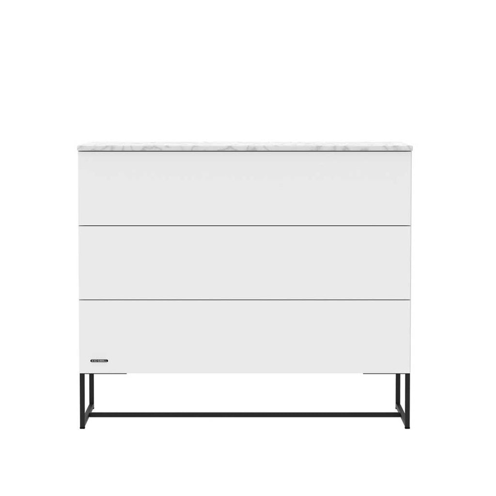 Kidsmill Intense 3 Drawer Chest with Marble - White & Black-Dressers & Chests- Natural Baby Shower