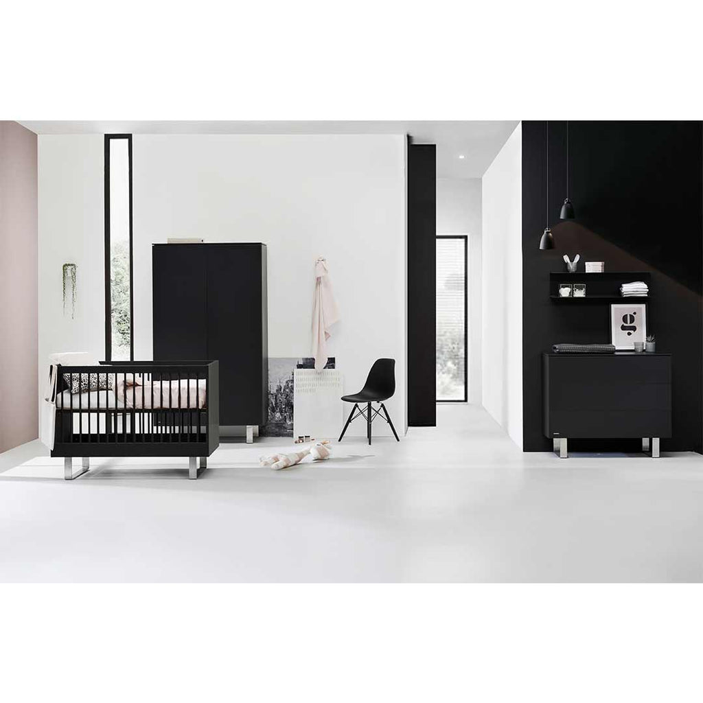 Kidsmill Intense 3 Drawer Chest with Marble - Black & Stainless Steel-Dressers & Chests- Natural Baby Shower