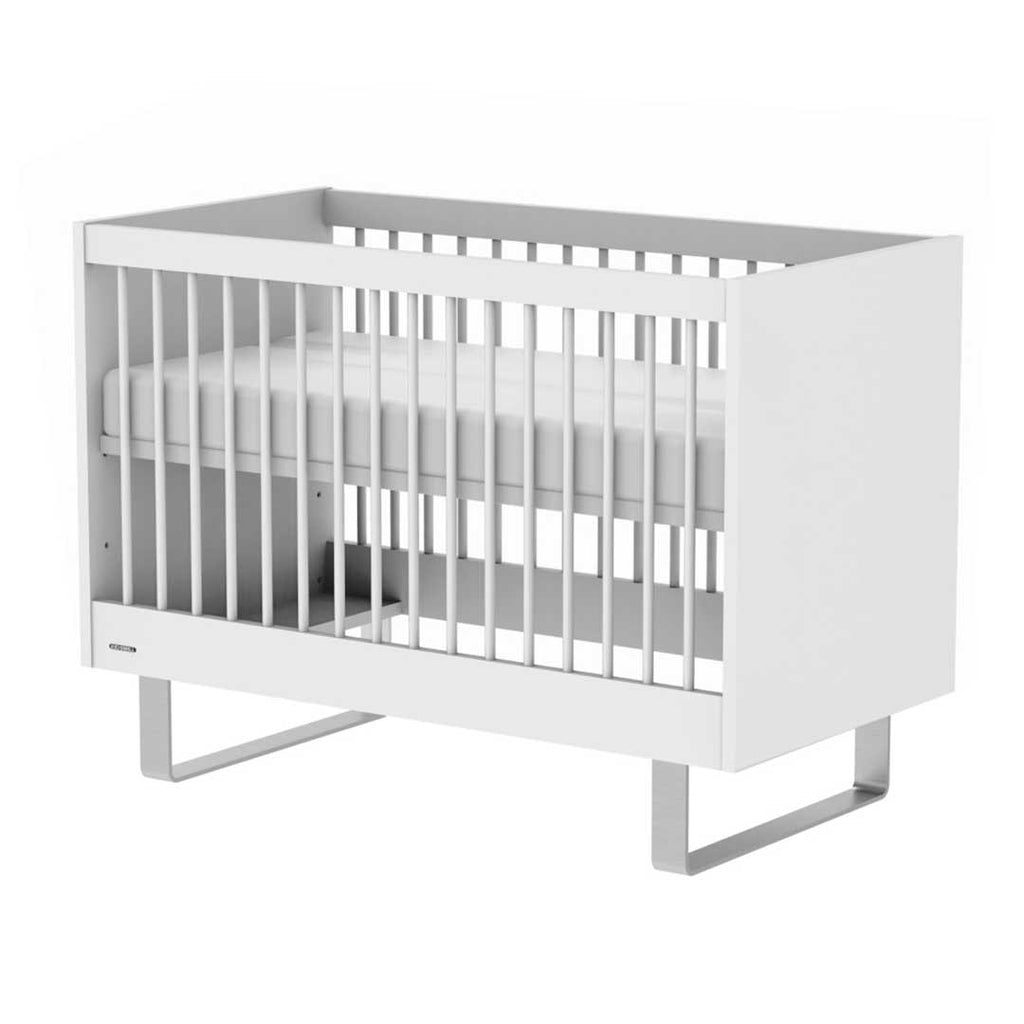 Kidsmill Intense Cot Bed 70 x 140 - White & Stainless Steel 1