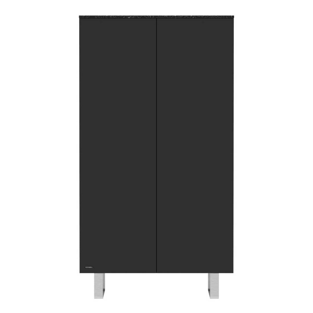 Kidsmill Intense Wardrobe with Marble - Black & Stainless Steel - 2 Doors