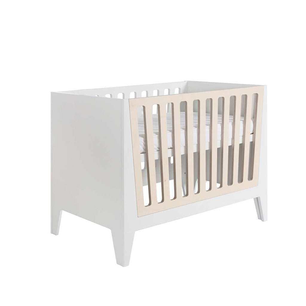 Kidsmill Nikki Cot 60 x 120 - White & Natural Bars-Cot Beds- Natural Baby Shower