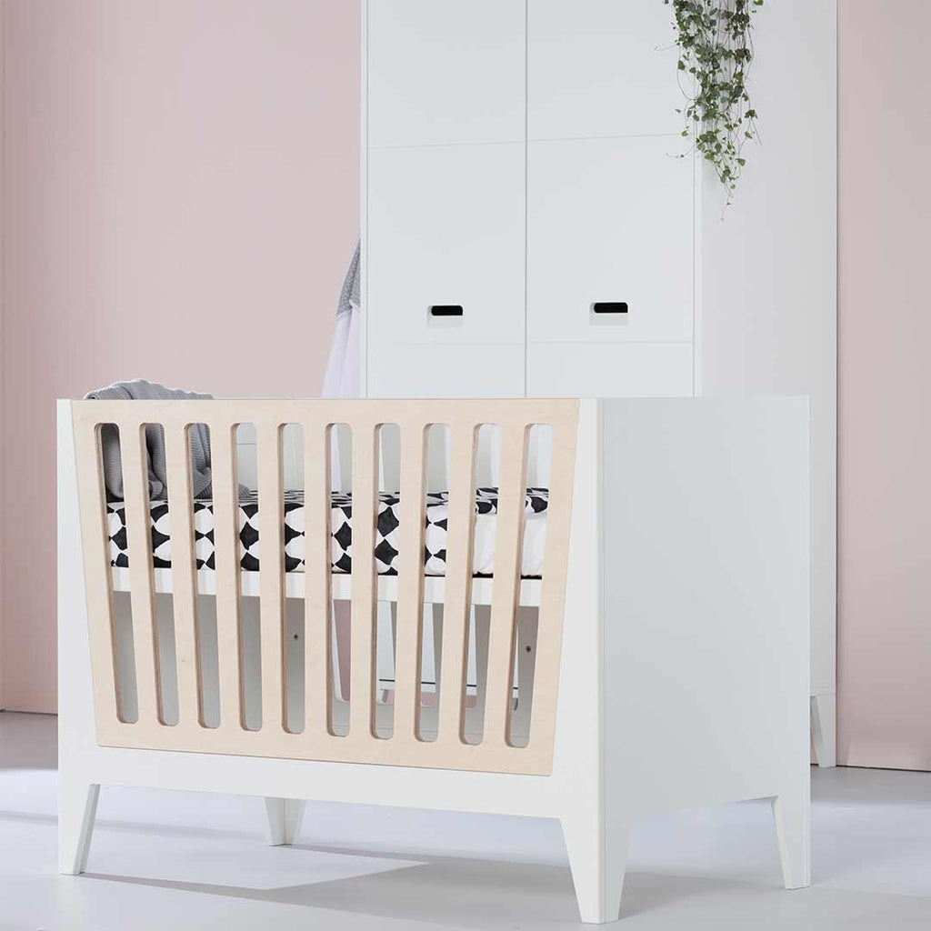 Kidsmill Nikki Cot 60 x 120 - White & Natural Bars 1
