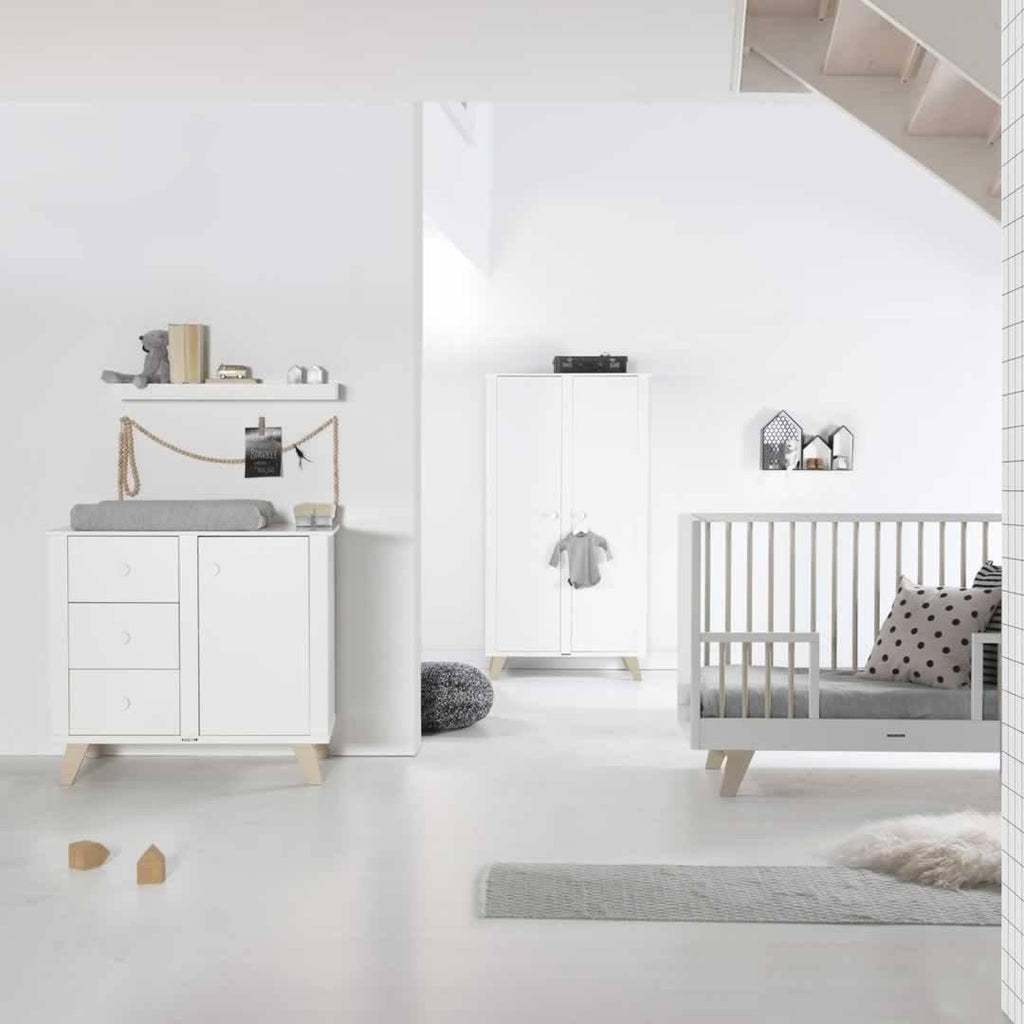 Kidsmill Fynn Wardrobe - White & Natural Lifestyle