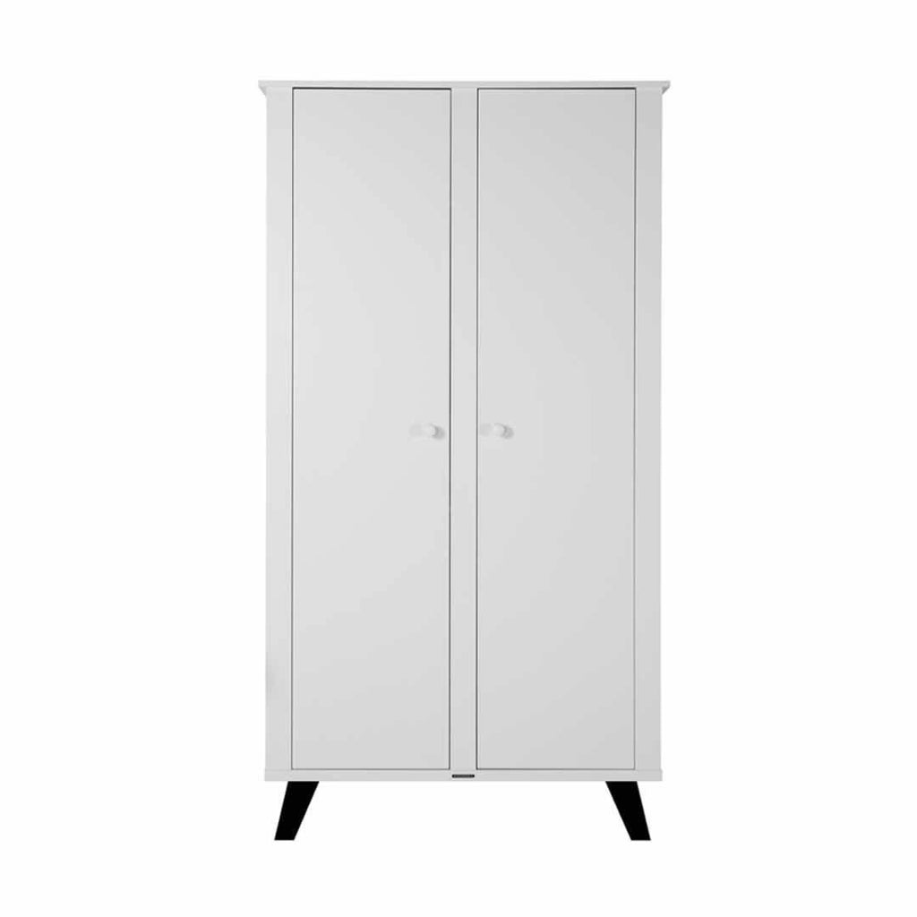 Kidsmill Fynn Wardrobe - White & Black-Wardrobes- Natural Baby Shower