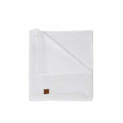Kidsmill Knitted Cot Blanket - 100 x 135 in White