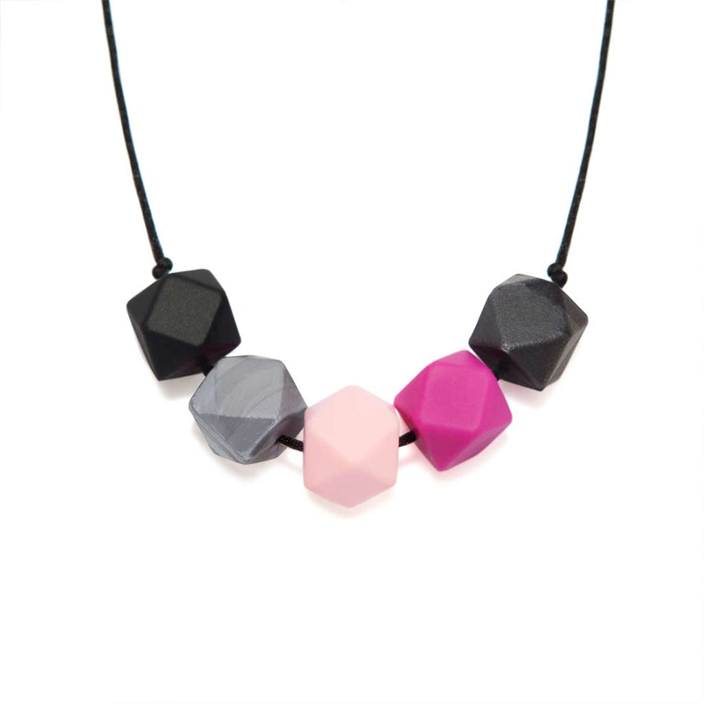 Lara & Ollie Edie-Metallic Teething Necklace - Black Cord-Jewellery-Edie-Metallic- Natural Baby Shower