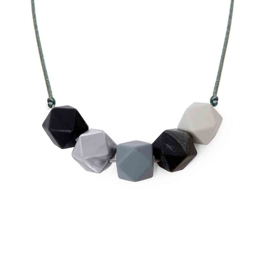 Lara & Ollie Luna-Metallic Teething Necklace - Grey Cord-Jewellery-Luna-Metallic- Natural Baby Shower