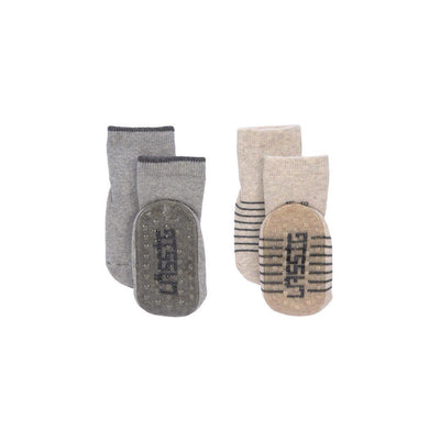 Lassig Anti-Slip Socks - Grey - 2 Pack-Socks- Natural Baby Shower