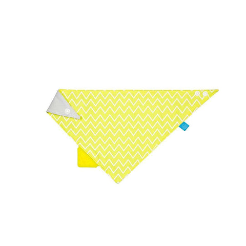 Lassig Bandana Bib + Silicone Teether in Zigzag Yellow
