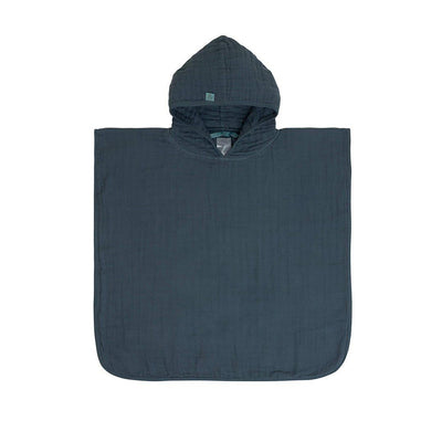 Lassig Muslin Poncho - Navy-Towels & Robes- Natural Baby Shower