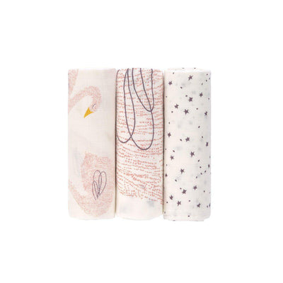 Lassig Heavenly Soft Swaddle L - Little Water Swan - 3 Pack-Swaddling Wraps- Natural Baby Shower
