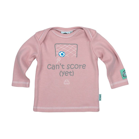 Lazy Baby Long Sleeve T-Shirt - Can't Score- Pink-Long Sleeves- Natural Baby Shower
