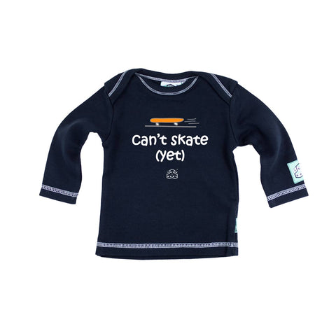 Lazy Baby Long Sleeve T-Shirt - Can't Skate - Navy-Long Sleeves- Natural Baby Shower