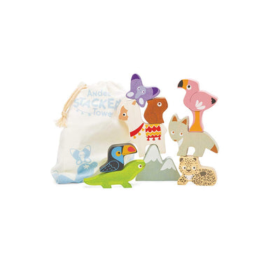 Le Toy Van Andes Stacker Tower & Bag-Sorting & Stacking Toys- Natural Baby Shower