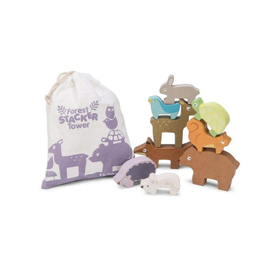 Le Toy Van Petilou - Forest Stacker Tower & Bag-Sorting & Stacking Toys- Natural Baby Shower