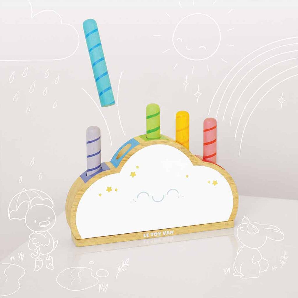 Le Toy Van Rainbow Cloud Pop-Play Sets- Natural Baby Shower