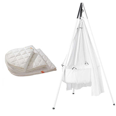Leander Cradle Bundle - White - Ex-Display-Cradles & Hammocks-White- Natural Baby Shower