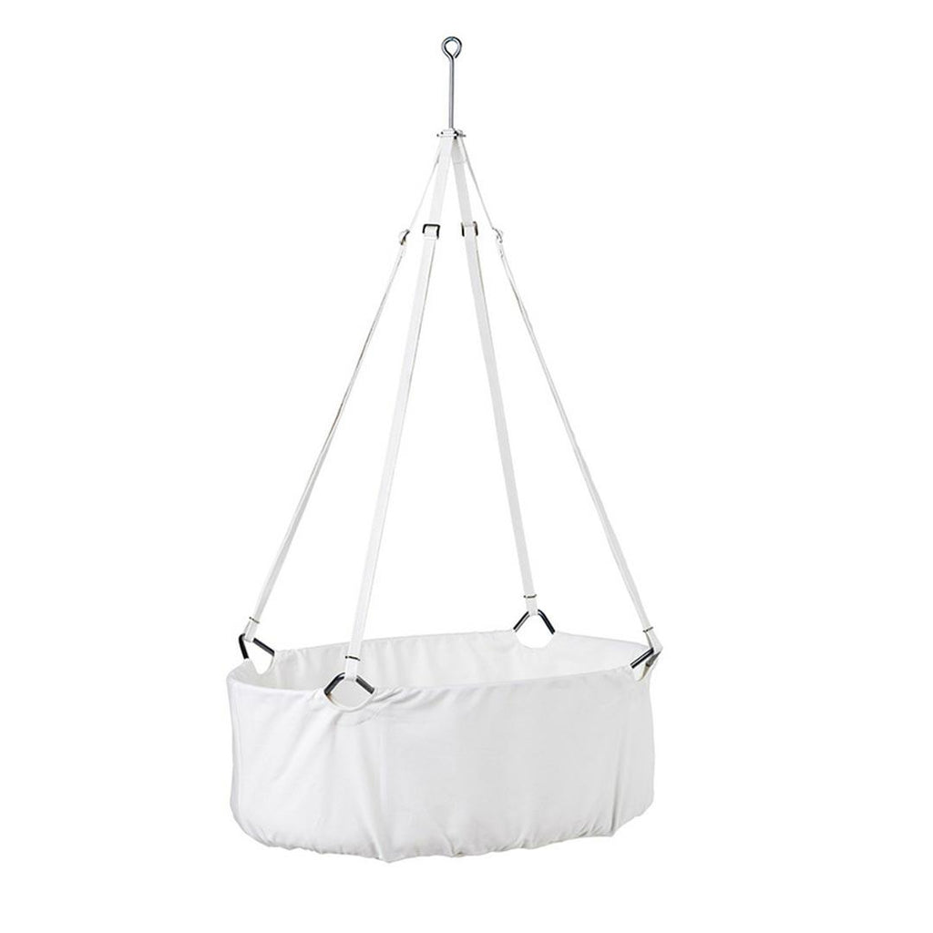 Leander Cradle with Mattress and Hook - White