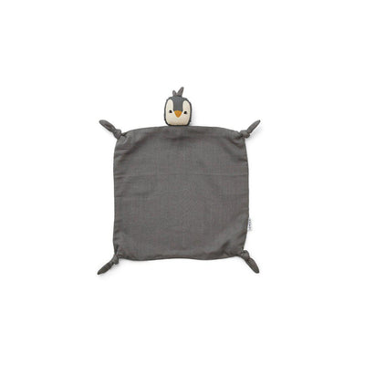Liewood Agnete Cuddle Cloth - Penguin - Stone Grey-Comforters- Natural Baby Shower