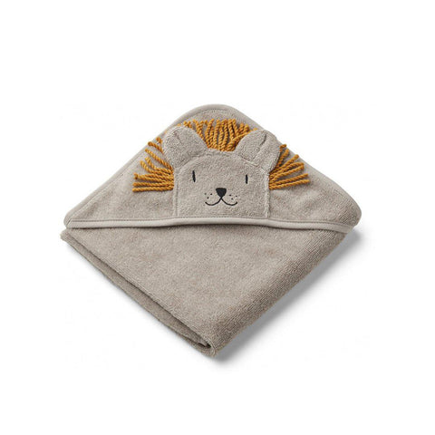 Liewood Albert Hooded Towel - Lion - Stone Beige-Towels & Robes-Stone Beige-One Size- Natural Baby Shower