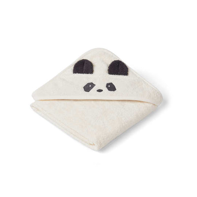 Liewood Albert Hooded Baby Towel - Panda - Creme de la Creme-Towels & Robes-Creme de la Creme-One Size- Natural Baby Shower