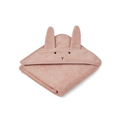 Liewood Albert Rabbit Baby Towel - Rose-Towels & Robes-Rose-One Size- Natural Baby Shower
