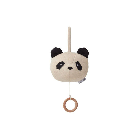 Liewood Angela Panda Knit Music Mobile - Beige Beauty-Baby Mobiles- Natural Baby Shower