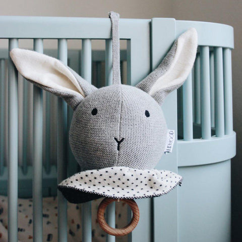 Liewood Angela Rabbit Knit Music Mobile - Grey Melange-Baby Mobiles- Natural Baby Shower