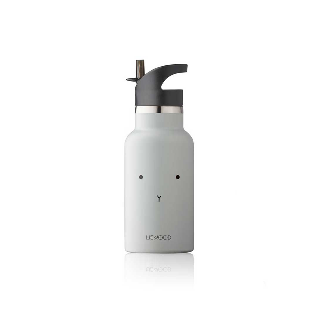 Liewood Anker Rabbit Water Bottle In Dumbo Grey Natural