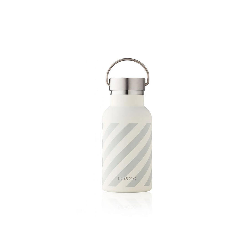 Liewood Anker Stripe Water Bottle In Dumbo Grey Natural