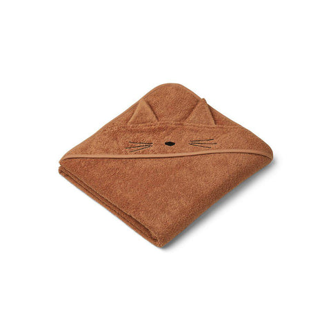 Liewood Augusta Hooded Towel - Cat - Terracotta-Towels & Robes-Terracotta-One Size- Natural Baby Shower