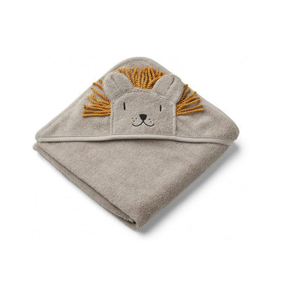 Liewood Augusta Hooded Towel - Lion - Stone Beige-Towels & Robes-Stone Beige-One Size- Natural Baby Shower