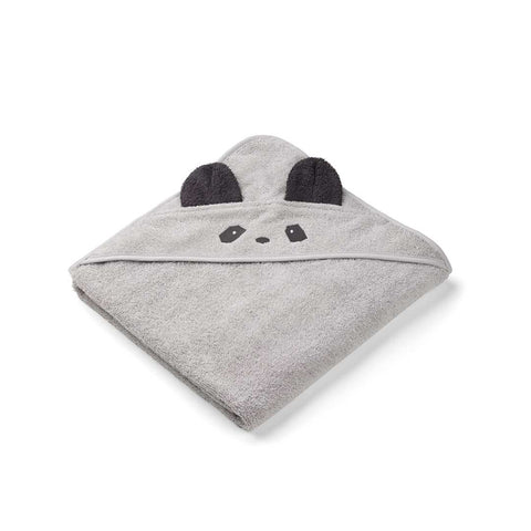 Liewood Augusta Panda Hooded Towel - Dumbo Grey-Towels & Robes-Dumbo Grey-One Size- Natural Baby Shower