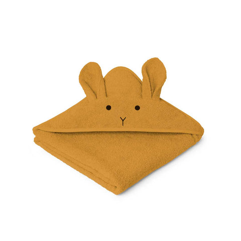 Liewood Augusta Rabbit Hooded Towel - Mustard-Towels & Robes-Mustard-One Size- Natural Baby Shower