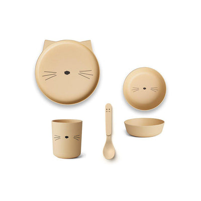 Liewood Bamboo Box Set - Cat - Smoothie Yellow-Bowls & Plates- Natural Baby Shower