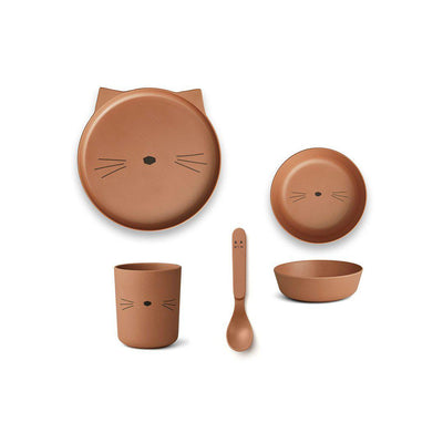 Liewood Bamboo Box Set - Cat - Terracotta-Bowls & Plates- Natural Baby Shower