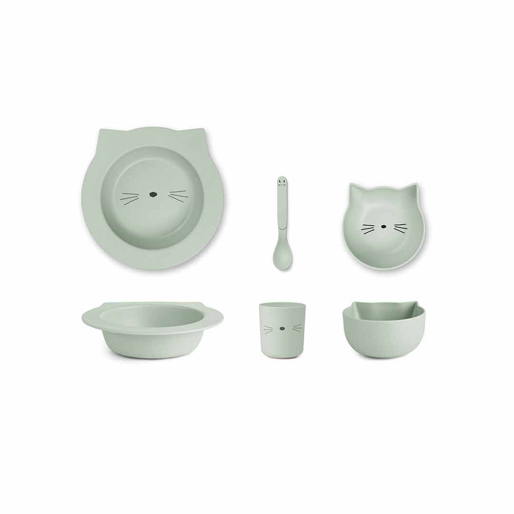 Liewood Barbara Bamboo Baby Set - Cat - Dusty Mint-Bowls & Plates- Natural Baby Shower