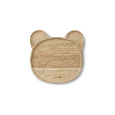 Liewood Conrad Wooden Plate - Mr Bear - Natural-Bowls & Plates- Natural Baby Shower