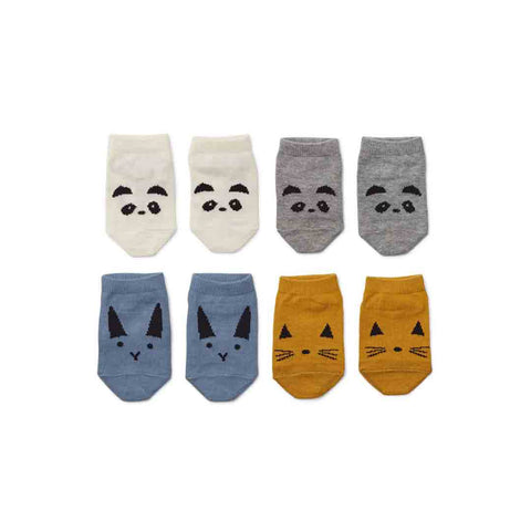 Liewood Fanny Footies - 4 Pack - Blue Mix-Socks- Natural Baby Shower