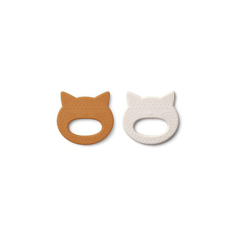 Liewood Geo Cat Teethers - 2 Pack - 2020 - Mustard/Sandy-Teethers- Natural Baby Shower