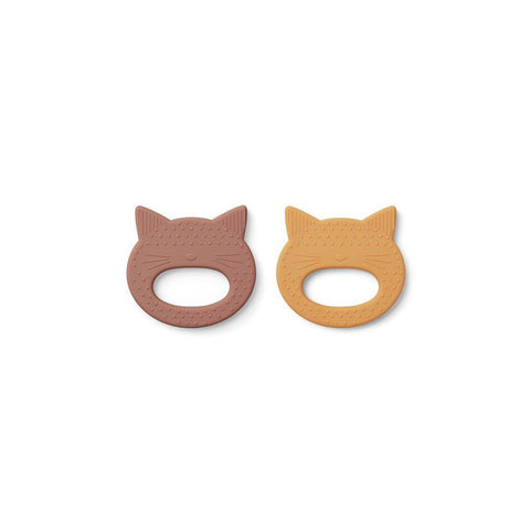 Liewood Geo Cat Teethers - 2 Pack - 2020 - Rose/Yellow Mellow-Teethers- Natural Baby Shower